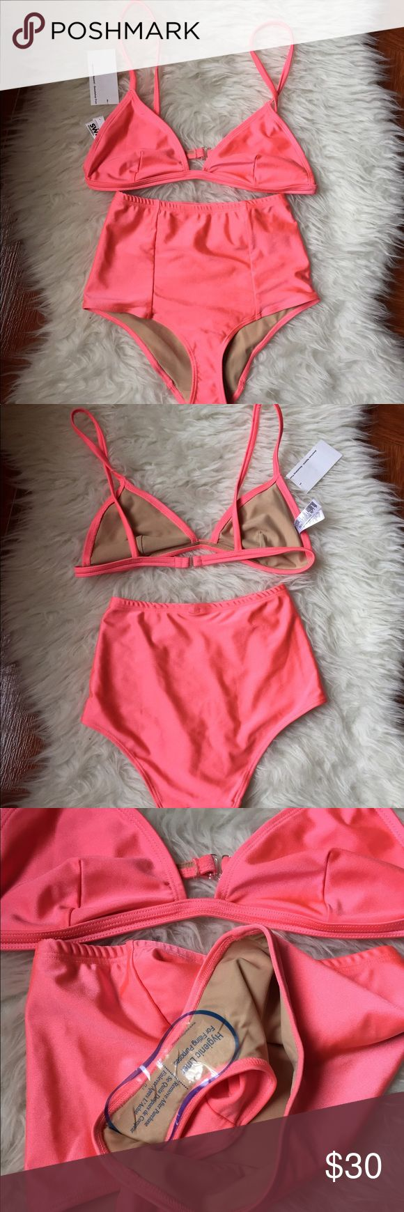 American Apparel two piece bikini Swimsuit American apparel coral ice pink two piece Swimsuit  Bottoms are a medium with hygienic liner but no tags  Tops is a large, new with tags  No flaws or defects!  Discontinued  Last two photos is how it looks on  Price is firm unless paid through depop, 🅿️aypal directly goods & services  🐙🐙🐙🐙🐙🐙🐙🐙 American Apparel Swim Bikinis