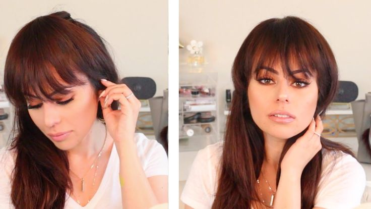HAIR HACK: HOW TO FAKE BANGS #straightener #hair #hairstyle #hairdry #roundbrush…