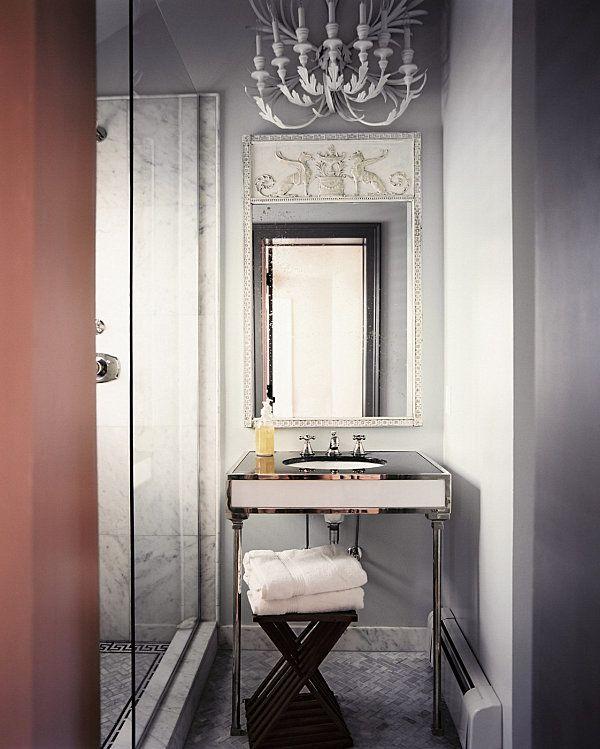 Beautiful Luxus Bad Design modern Vintage Deko Ideen Wandspiegel Waschtisch Kronleuchter