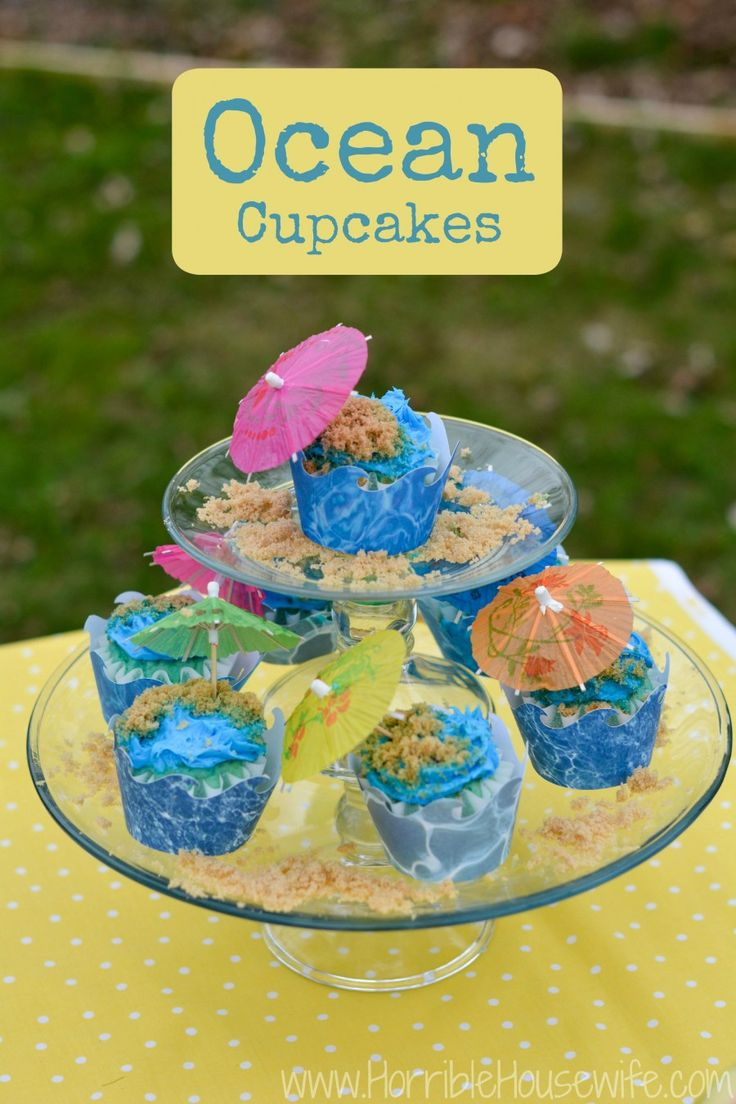 How to make ocean cupcakes with an ocean wave cupcake wrapper and sugar sand