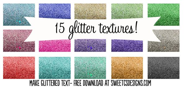 15 free glittered text patterns download for photoshop - also a tutorial on how to do glitter text