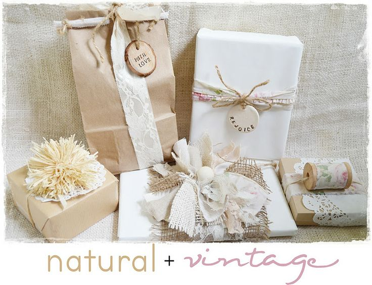 Wrapping pretty presents in a Natural & Vintage Style - using burlap, lace, raffia, twine, etc.