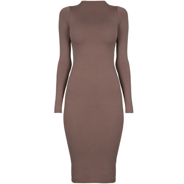 Naked Wardrobe NW Midi Dress ($200) ❤ liked on Polyvore featuring dresses, rayon dress, midi dress, long sleeve bodycon dress, high neck bodycon dress and long-sleeve midi dresses