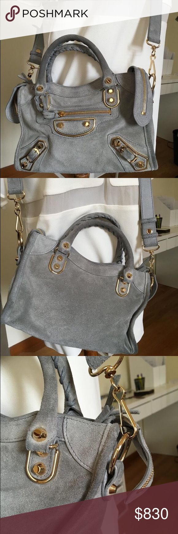 2016 Balenciaga Mini City in Gray Suede w/ Receipt Authentic Balenciaga suede mini city handbag from the Fall 2016 collection This model currently retails for $1455 at Bergdorf Goodman.  Lightly used- wear and tare on handles, corners and suede surface.  The packaging will include the original dust bag, tags and Barney's packing slip, gift box and ribbon. Price is lower if we trade offline.   Please feel free to message me if you have any questions! :) Balenciaga Bags Crossbody Bags