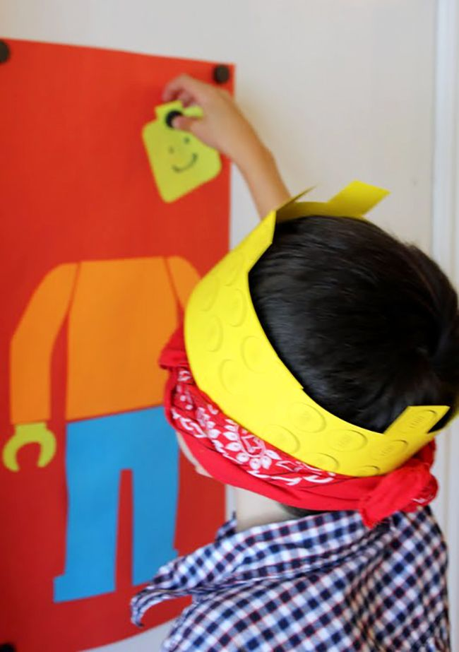 """""""Pin the head on the LEGO guy"""" party game"""