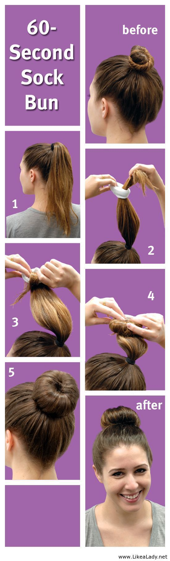 60-Second Sock Bun | What a cool idea to use a sock if you don't have one of those donut hole bun shapers!! Never thought of this!!