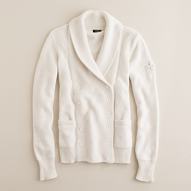 J.Crew Shawl-collar cardigan was $110.00 now $34.99 item 39478. This deliciously chunky cotton cardigan—with its sumptuous double-breasted silhouette and touches of military styling—has cozy chic written all over it. We love how the details make all the difference, from the weathered enamel buttons to the tiny tabbed sleeve pocket. V-neck. Long sleeves. Welt pockets. Hits at hip.