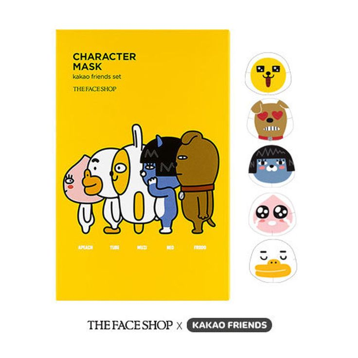 THEFACESHOP x KAKAO FRIENDS Edition Character Mask Sheet Set  #THEFACESHOP