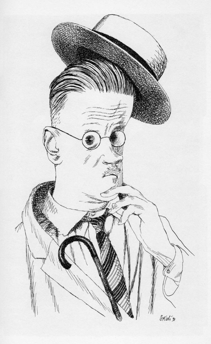 James Joyce by Tullio Pericoli ~Via Uwe Schlemmermeyer