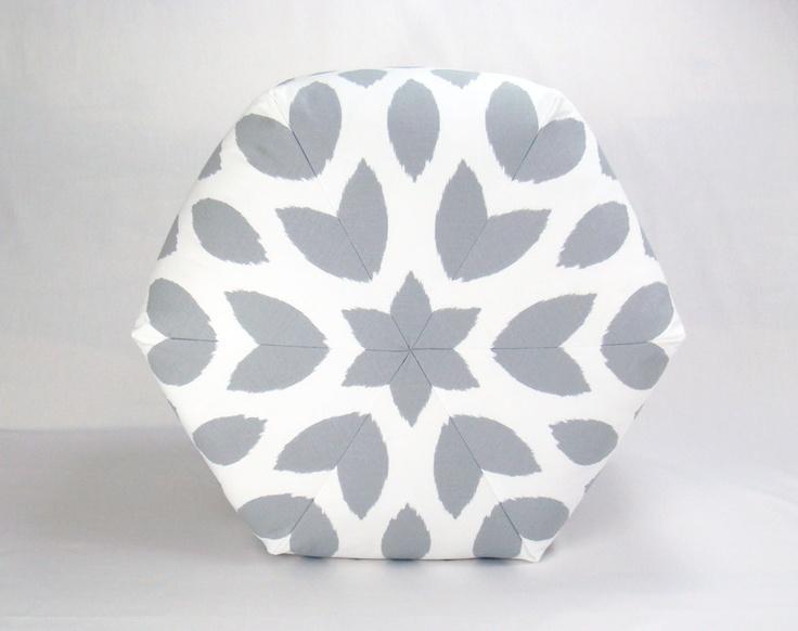 Floor Ottoman Pouf Pillow Storm Gray & White -