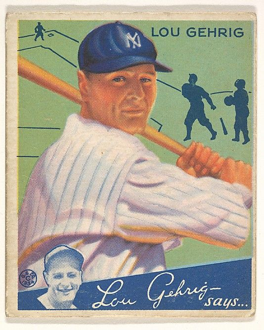 1934 Goudey 61 Lou Gehrig New York Yankees Baseball Card Have kids write Essay of which player they think played the best Compare stats