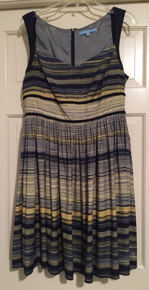 Antonio Melani Striped Sleeveless A Line Dress Sz 10 Blue Gray