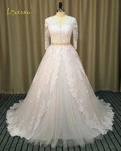 US $204.99 Loverxu Romantic V Neck Three Quarter A Line Wedding Dress 2017 Vintage Appliques Sashes Chapel Train Robe De Marriage Plus Size. Aliexpress product