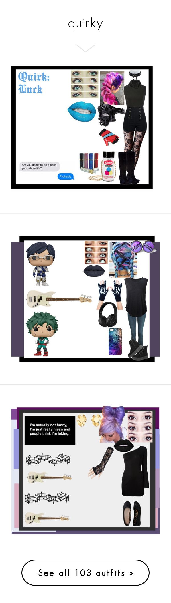 """""""quirky"""" by thin-mint on Polyvore featuring Brandon Maxwell, Moschino, ALEXA WAGNER, The Lip Bar, Topshop, Funko, T.U.K., Raquel Allegra, Too Fast and Beats by Dr. Dre"""