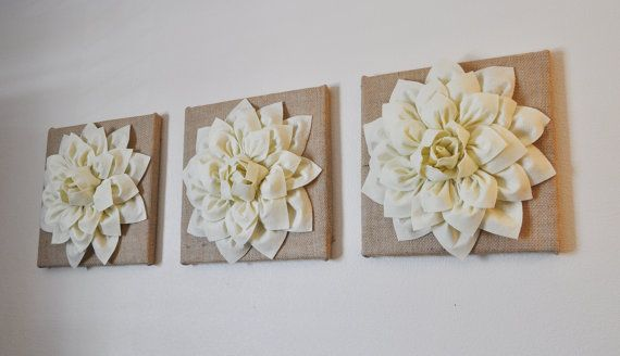 "Burlap -SET OF THREE Ivory Dahlias on Burlap 12 x12"" Canvas Wall Art- Home Decor I think I could make this."