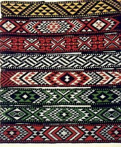 Some of the taniko headbands that went to the 1992 World Indigenous Peoples Conference and Expo 92 in Spain.  by Judy Shorten