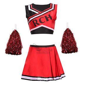 Ladies Mens Team Sports Cheerleader Costumes Group Cheerleading Fancy Dress