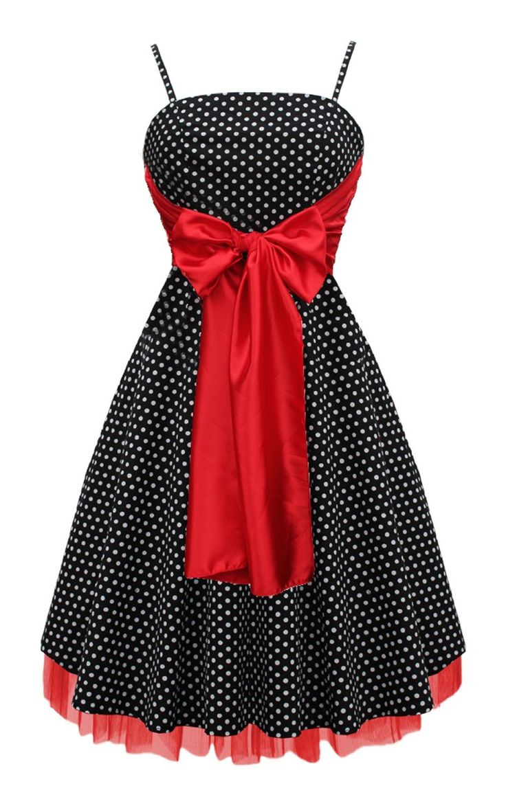 Black Butterfly Large Bow Polka Dot Retro 50S 60S Rockabilly Swing Prom Dress: Amazon.co.uk: Clothing