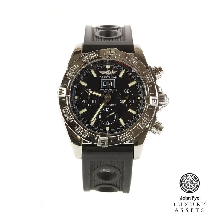 Breitling Blackbird | Stainless Steel Automatic Watch With A Black Colour Dial and A Rubber Strap