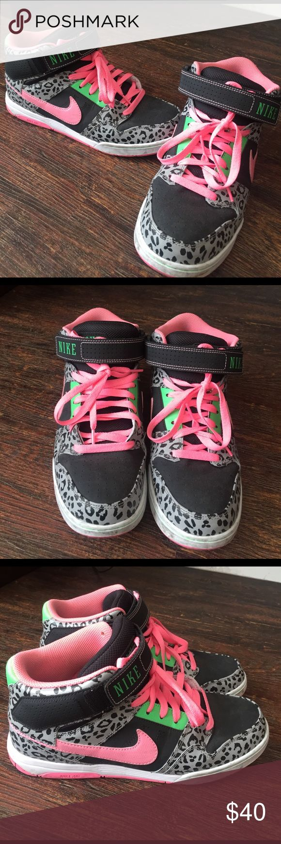 Nike leopard print High tops --- vibrant pink and green highlights Nike Shoes Sneakers