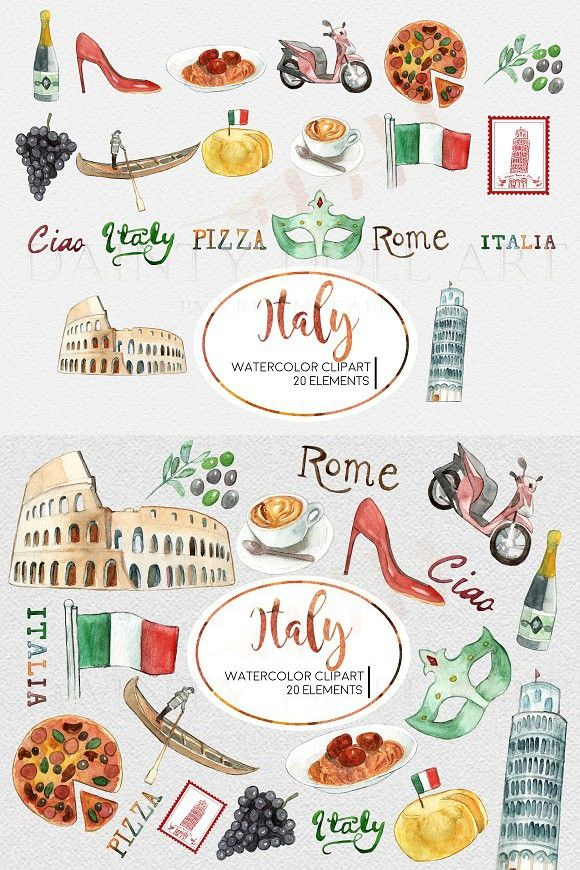 Watercolor Italy Travel Clipart Set Travel Clipart Italy