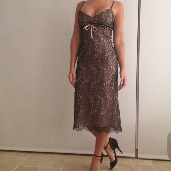 Reduced! Rebecca Taylor romantic Lace dress Black lace dress with tan underneath and ribbon Rebecca Taylor Dresses