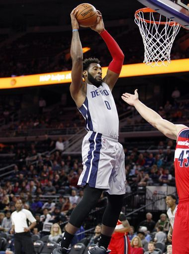 Pistons center Andre Drummond (0) gets a rebound during