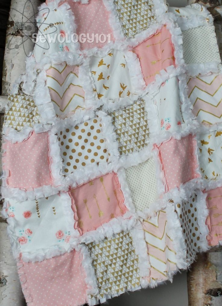 Pink, metallic gold, white super soft minky baby girl rag quilt with birds, arrows, chevron, polka dots by Sewology101 on Etsy