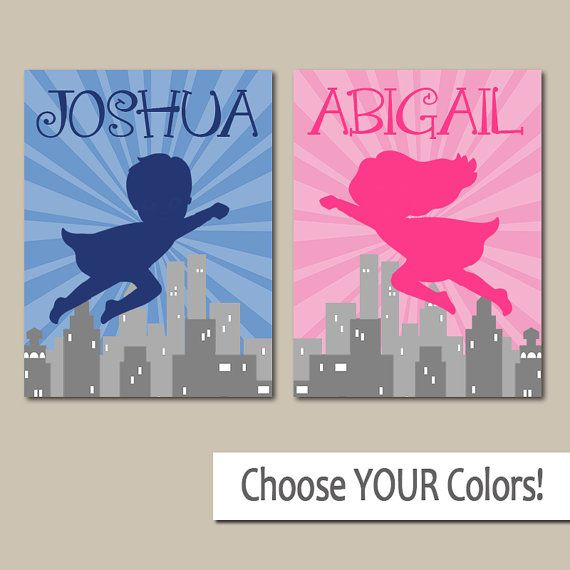 SUPERHERO Wall Art Boy Girl Personalized Name Artwork By TRMdesign Part 73
