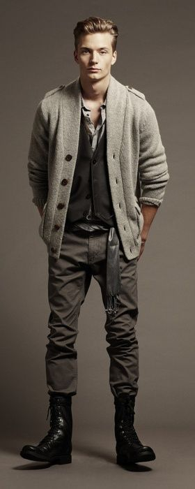 """Such a great """"greige"""" look with lots of layers and stylish all weather boots."""