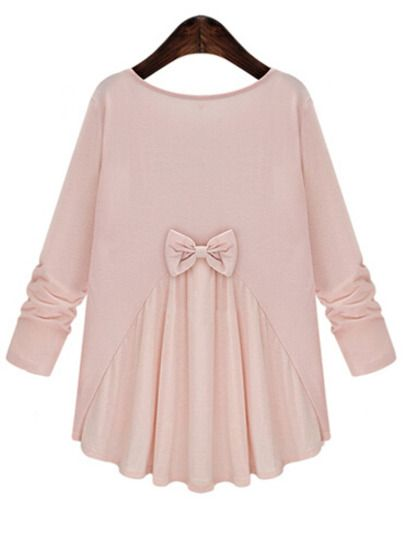 Pink Round Neck Long Sleeve Bow Loose Blouse -SheIn(Sheinside) Mobile Site