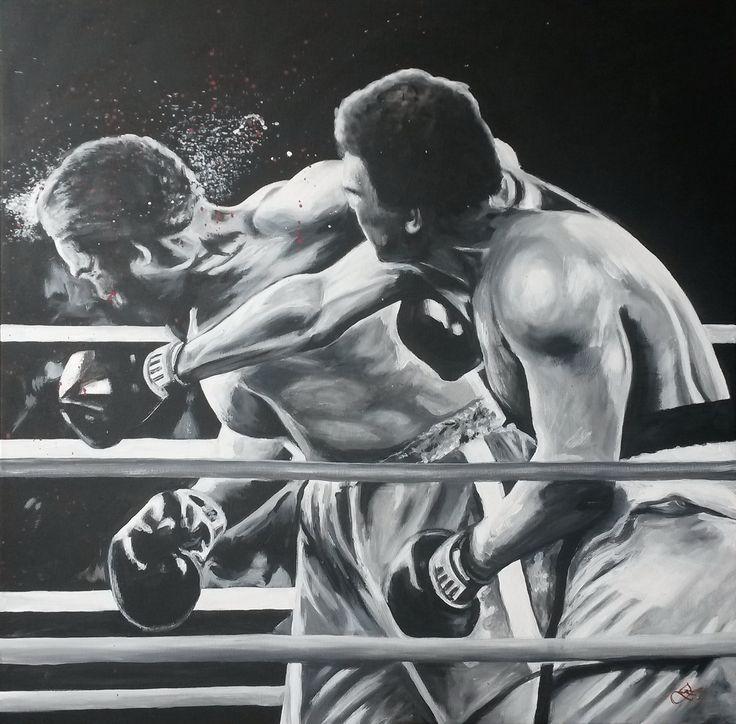 George Foreman a Muhammad Ali,  akryl na plátně 60x60cm