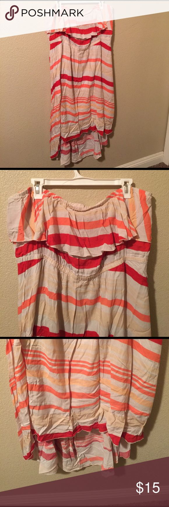 American Rag highlow tube top dress 3x American Rag highlow tube top dress 3x. Yes it's wrinkled, it's been in a box of clothes that no longer fit. It can be steamed/ironed. Really cute high low accent with a ruffle around the bust Dresses High Low