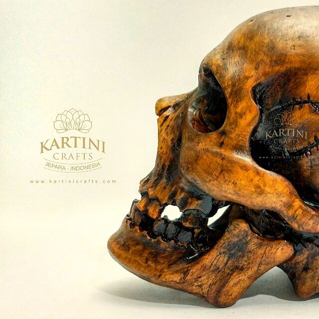 Wood Skull Sculpture,
