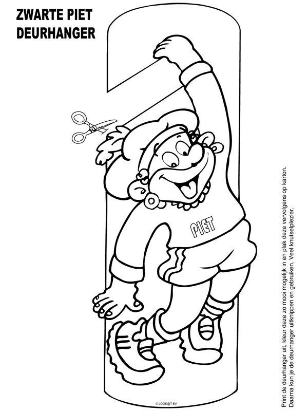 Zwarte Piet deurhanger - Knutselpagina.nl - knutselen, knutselen en nog eens knutselen.