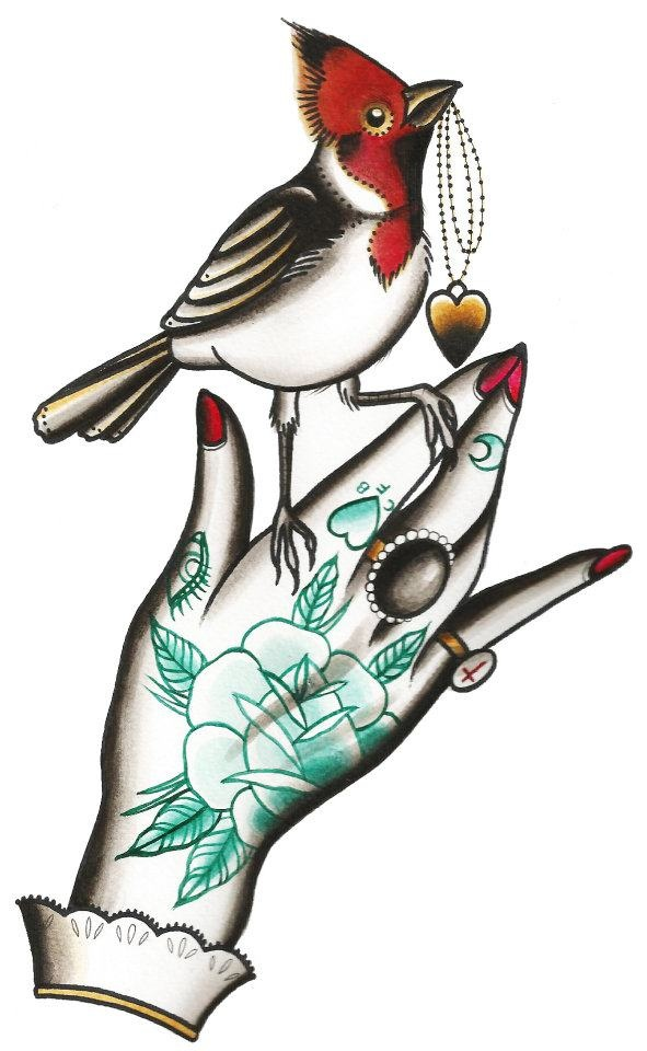 Cassandra Frances traditional style hand with bird perched. heart locket. rose tattoo vintage old school
