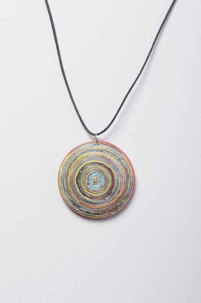 Dome shape magazine-paper necklace