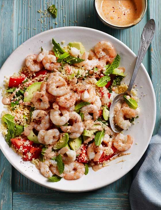 Prawn and avocado couscous with harissa yogurt - ready in just 15 minutes