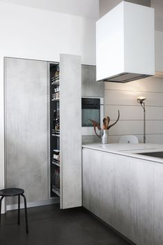Obumex | Kitchen Interior Furniture Outdoor Professional Furniture Outdoor, White Kitchen, Interior Design Kitchen, Interiors Design, Obumex Interiors Not sure how realistic this photo is but I like this feel for the basement level. Obumex | Kitchen Interior Furniture Outdoor Professional Clean-lined white and beige kitchen / Obumex #interiors #design #kitchen #minimalist #white #wood bleached …