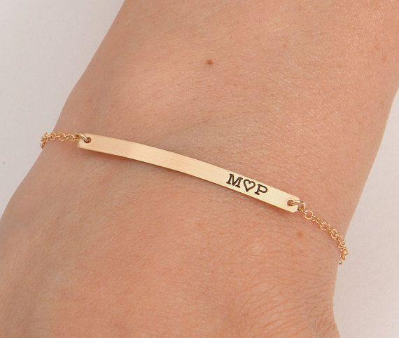 Gold Skinny Long Bar Bracelet, Handwritten Bar Bracelet, Name Engraved Bracelet, Gold, Silver, Bridesmaid Jewelry, Christmas Gift – نق