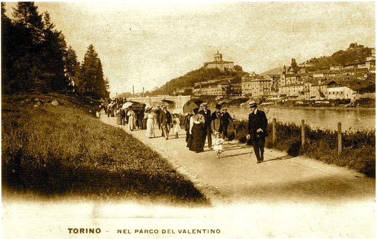 TORINO ,Passeggiata domenicale al Valentino , primi '900