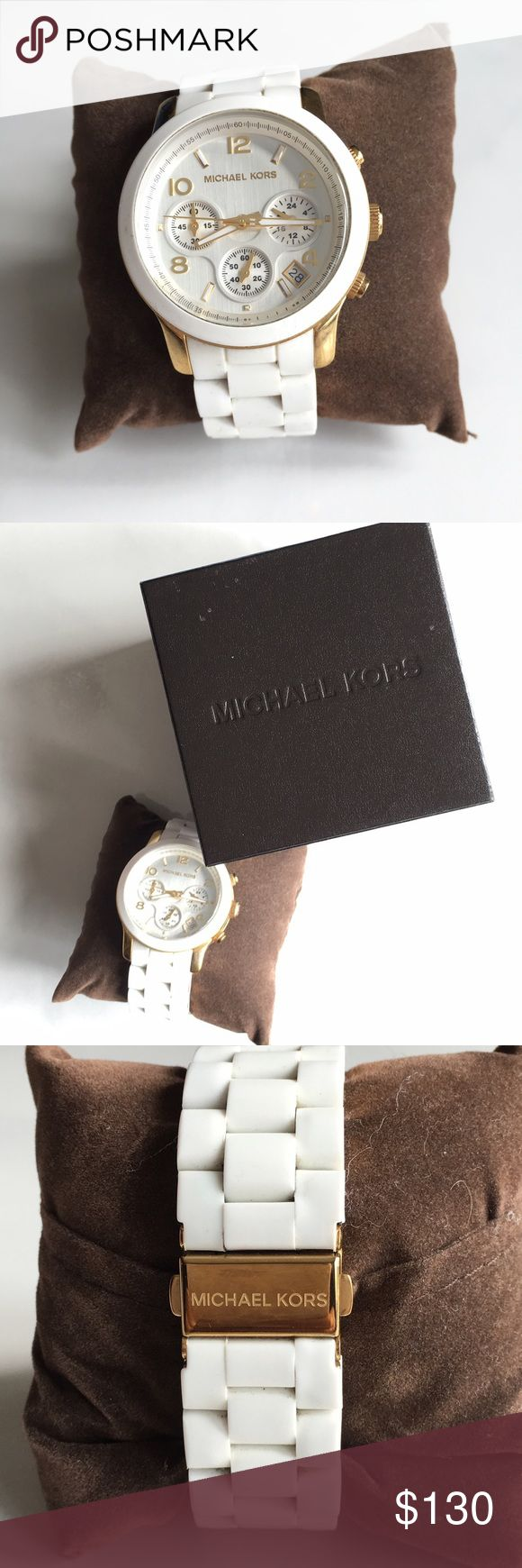 Michaels Kors white watch Michael Kors rubber strap triple chronograph watch. Retails for $250. Michael Kors Accessories Watches
