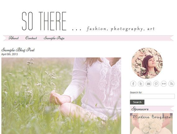Premade WordPress Blog Template Design - So There - WP blog theme - light pink, grey, white