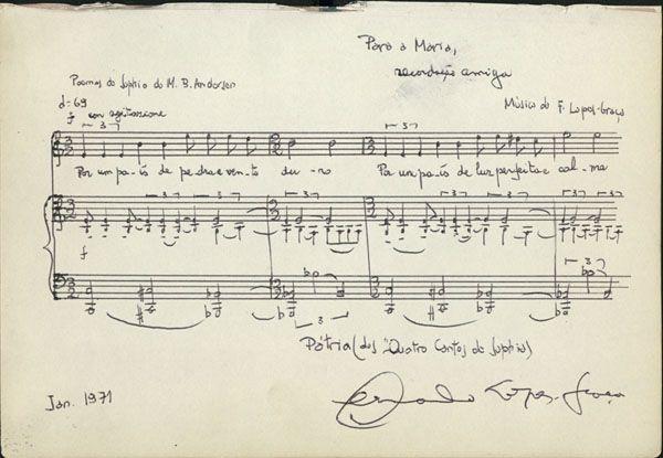 Partitura da autoria de Fernando Lopes Graça para o poema Pátria. Janeiro 1971