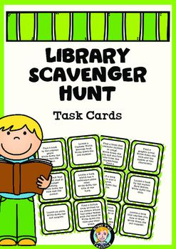 This pack includes 30 Library Scavenger Hunt Task Cards.These cards are suitable for grades 3-7. This is definitely a student favourite!Includes questions such as:-Find a book written by an author from the country you live in. Write down the title and their name.- Find a picture book written by Mem Fox.
