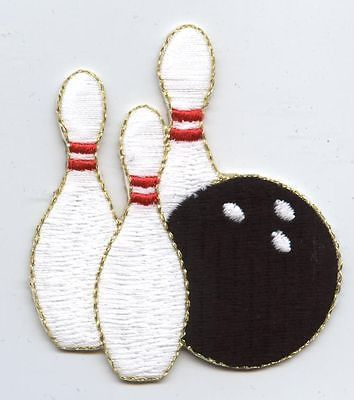 Iron On Applique Embroidered Patch Bowling Pins Black Ball Gold 240298B