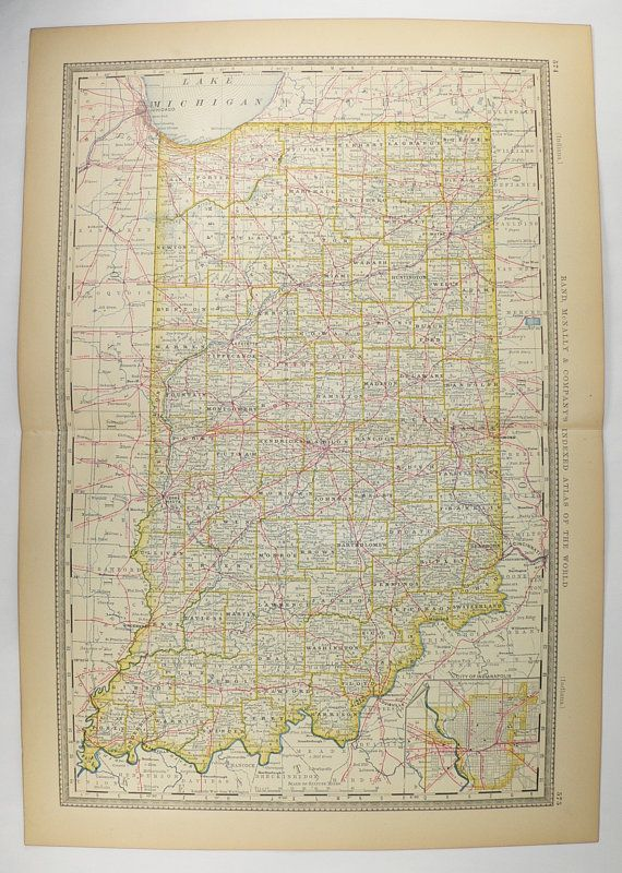 Antique Indiana Map 1881 Rand McNally IN Map Indiana State Map, Man Cave Decor, Guy Gift, Vintage Home Decor, History Buff Gift Under 50 available from #OldMapsandPrints #Etsy #Indiana #OriginalAntiqueMap #VintageHomeDecorGift #UniqueGuyGift
