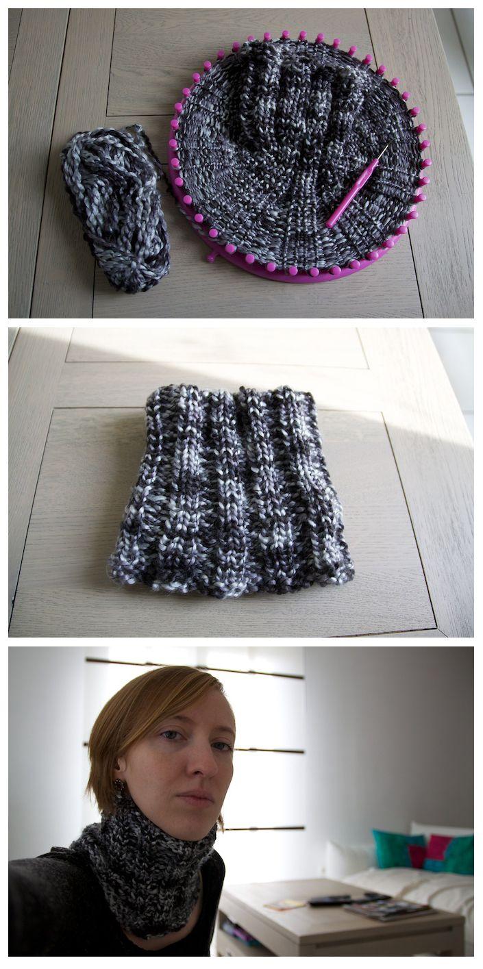 tricot snood tour de coup en tricotin circulaire 29cm loom knitting laine n 7 2 mailles. Black Bedroom Furniture Sets. Home Design Ideas