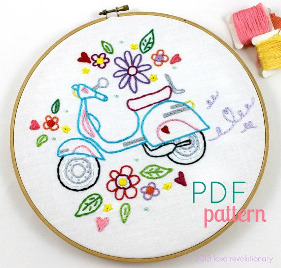Way Cute Retro Vintage Scooter Hand Embroidery PDF Pattern. Features a cute Retro Style Scooter, decorated with pretty flower doodles that are just