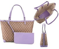 Gucci Craft Tote in Beige Ebony with Lilac Leather Trim